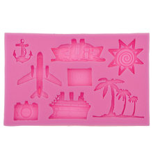 Coconut trees Hook Anchor Ship Plane, Aircraft,Sunsine Silicone for Cake Decorating Fondant Mold Chocolate Mould F0569(China)
