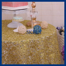 CL057A  SKFLY wedding bright rich gold  sequin lace table cloth