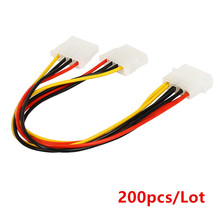 200pcs/Lot Computer Power Supply IDE 4-pin Molex LP4 Male to 2 x Female Splitter Power Cable Cord,Hard Drive Disk HDD DVD CD