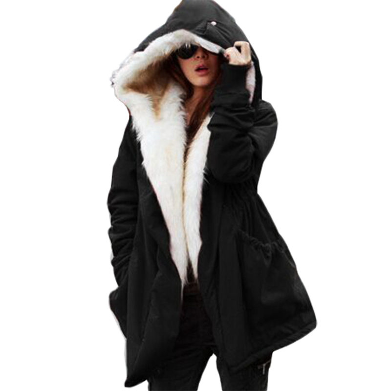Winter Jacket Women Large Fur Parkas 2017 New Fashion Women Cotton Coat Ladies Jacket Plus SizeÎäåæäà è àêñåññóàðû<br><br>