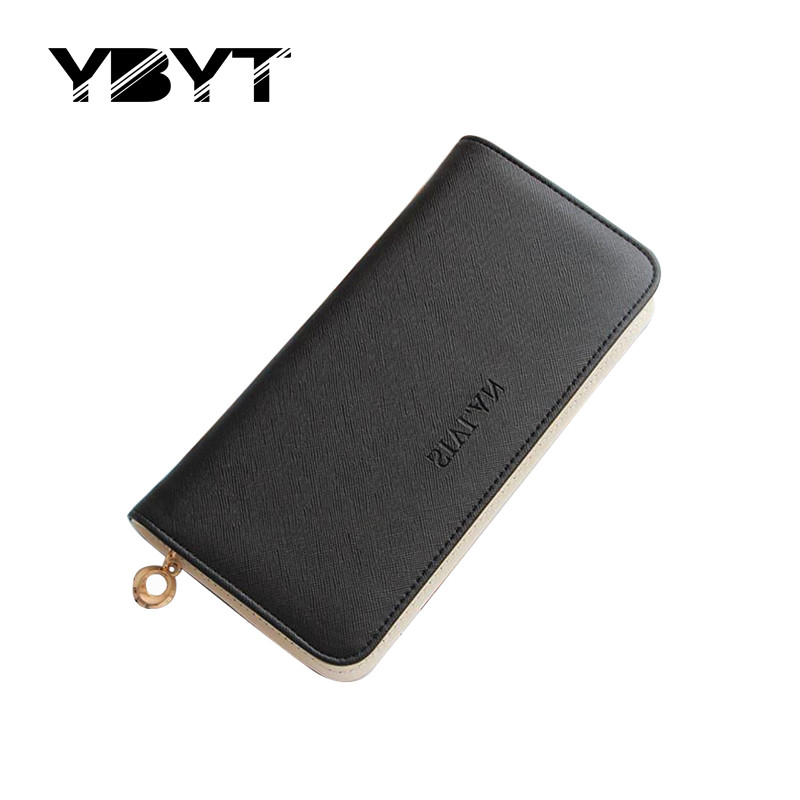 YBYT brand 2017 new women fashion simple candy color fresh long solid zipper wallet ladies coin purses female hard card package<br><br>Aliexpress