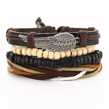 Punk Multi Layer DIY Braided Leather Hemp Bracelets Retro Metal Feather Wood Beads Wrap Braclets For Male Boy Cool Bijoux Hemme