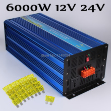6000W Off Grid Inverter DC12V or 24V to AC100/110/120V or 220/230/240V Pure Sine Wave Output Solar Wind Inverter 6000W 24V 12V