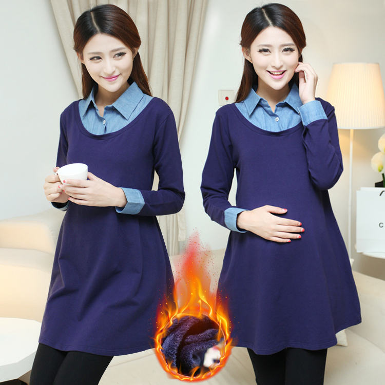 Make new maternity dress dress tide qiu dong mother pregnant women coat winter long in the pregnant woman skirt<br>