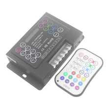 dc5v-24v pwm led music rgb controller with ir wireless remote controller control 20 built-in change effect and 12 DIY effect(China)
