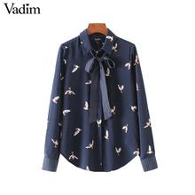 Vadim cute bird print shirts sweet dots bow tie neck long sleeve pleated blouses vintage loose ladies casual tops blusas LT2288(China)