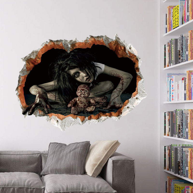Halloween 3d View Scary Bloody Broken Wall Ghost Wall Sticker Home Decor 60x45cm