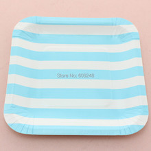 "24pcs 7"" Decorative Birthday Wedding Holiday Blue Striped Square Colored Paper Plates Party Dessert Paper Dishes Wholesale"
