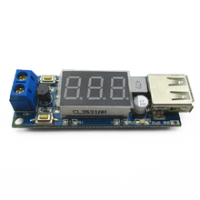 DC-DC buck power module car battery voltage meter + USB 5V charging mobile phone