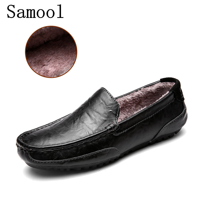 2017 Men Winter Loafers Mens Genuine Leather Casual Shoes Fur Driving Shoes Slip Male Moccasins Warm Flats Casual Shoes