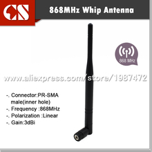 10pcs/lot 868 mhz Aerial 868Mhz WHIP ANTENNA for RADIO FREQUENCY with3 dB Gain TX/RX RP-SMA MALE(INNER Hole) free shipping(China)