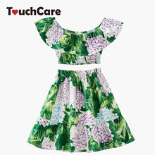 2 PCS Green Leaves Hydrangea Print Girls Dresses Ruffle Top Cotton Dresses Girl's Princess Dress Fashion Children Spring Colthes(China)