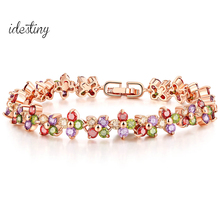 Famous Brand Jewelry Multicolor Cubic Zircon Stones Four Leaves CZ Flower Connected Bracelets For Women Best Christmas Gift(China)