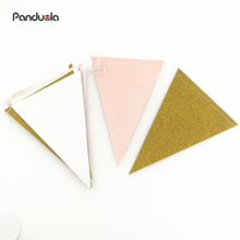 Pink White Gold  Flag Banner, Glitter Paper Pennant Bunting Garland, Extra Sparkle for Wedding Teepee Deco Birthday Party Nurser