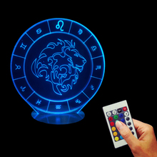 Free Shipping 1Piece Leo Zodiac 3D Table Lamp 16Colors Changeing LED Illusion Night Light With Remote Controller