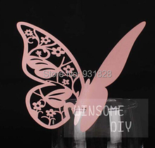 Bar cocktail Glass Markers Restaurant Place Card butterfly Table Cards wedding birthday party Cake Toppers name card pink 001(China)