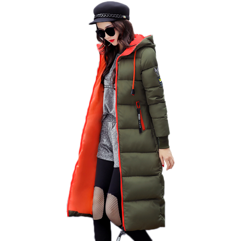 2017 winter women jacket long warm parka coat big size hooded solid thin cotton female jacket jaqueta feminina invernoÎäåæäà è àêñåññóàðû<br><br>