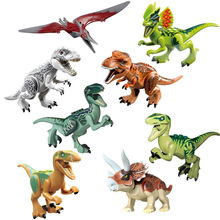 Jurassic Dinosaur Set Pterosauria Triceratops Indomirus T-Rex Animal World Mini Doll Toy Building Block Xmas Gift for Boy Toy