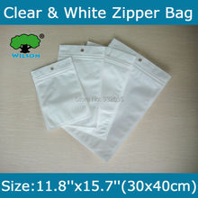 Free Shipping 50 pcs 11.8''x15.7''(30x40cm) Big  Bag One Side White Clear Zip lock bag  White/Clear electronic packaging