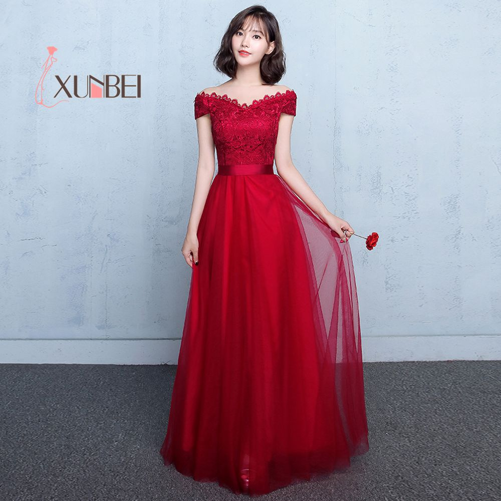 Robe de soiree Deep Red Appliqued Sexy V Neck Evening Dresses Long 2019 Tulle Lace Up Back Prom Dress Formal Party Gown