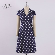 Buy 2018 Women New Vintage Short Dresses A-Line V-Neck Slim Tied Casual Dress Elegant Dot Short Sleeve Sexy Dress AS04023 for $34.99 in AliExpress store