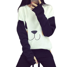 Cute Panda Face White Shirt Black Sleeve Pullover New Autumn Long Sleeve Cat Paw Embroidery Panda Sweatshirt(China)