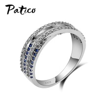 PATICO Female Blue Cross Ring Simple White CZ Filled Crystal Jewelry Promise Engagement Rings For Women Birthday Stone Gifts(China)