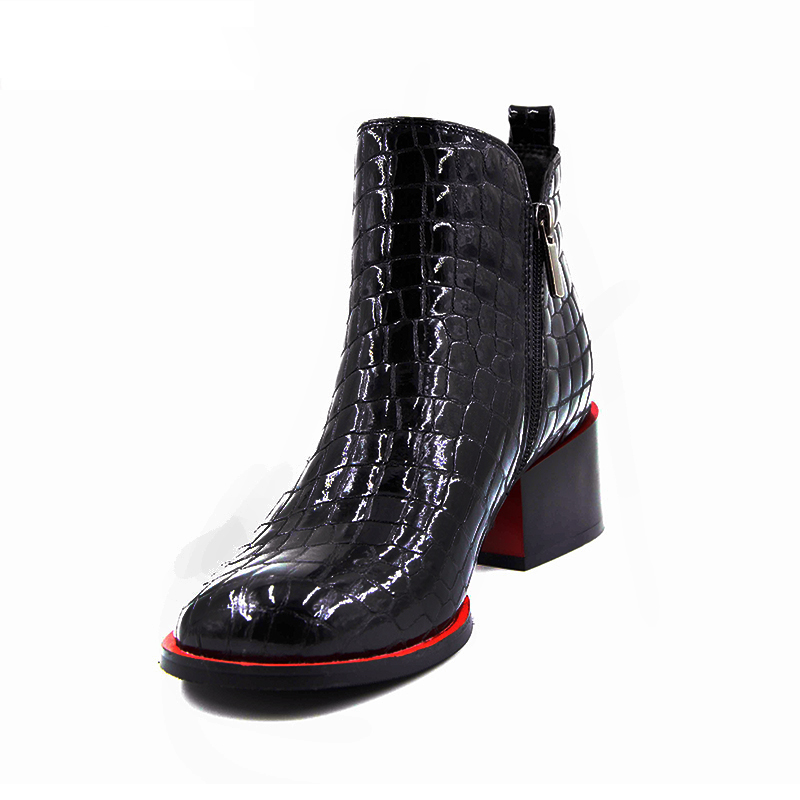 Hot sale Women Boots 17 New Fashion Shoes Woman Genuine Leather black Ankle Boots Winter Warm Wool Snow Square heel Boots 6
