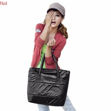 Hot Korea Style Girls Ladies Handbags Space Bale Lady Bag Winter Cotton Totes Shoulder Bag Padded Messenger Handbag Bag 8331
