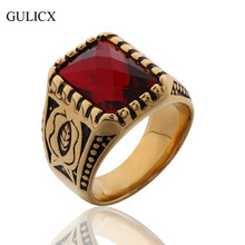GULICX Brand Wide Engraving Finger Band Stainless Steel Ring for Men Punk Princess Yellow/Garnet Red/blue CZ Jewelry BR058