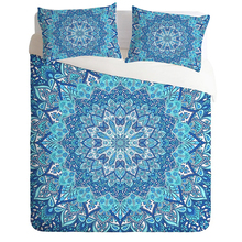 Bohemian Bedding Set Light Blue Mandala Quilt Cover Printed No Fading Bedclothes Twin Full Queen King 3pcs