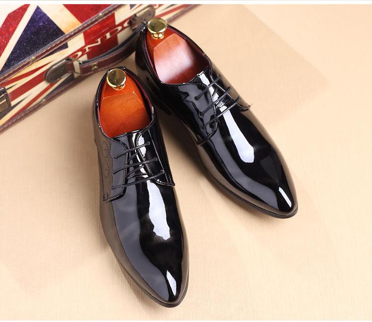 NPEZKGC Big Size 38-48 Men Shoes PU Leather Casual Shoes Fashion Lace Up Oxfrds Shoes Breathable Patent Leather Men Flat Shoes 22