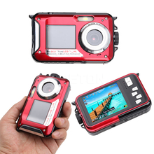 18MP Double Screens Waterproof Digital Camera US/EU/UK Plug 2.7 inch +1.8 inch Screens HD CMOS 16x Zoom Camcorder Camera Red
