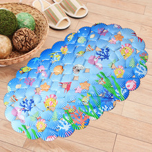 #a Cartoon PVC ocean shell Shower Room Non-slip mat children shower Bathtub shower room massage Door mat belt Head suction pad