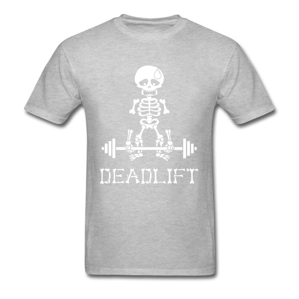 Deadlift-Skeleton-white T Shirt for Men Print Summer/Autumn Tops & Tees Short Sleeve Company Top T-shirts O Neck 100% Cotton Deadlift-Skeleton-white grey
