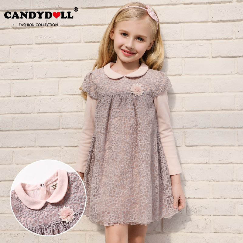 2018 Spring Girls Dress Children Lace Vestido Kids Long Sleeve Princess Dresses Cotton Lining Party Clothing for 24m-7y<br>