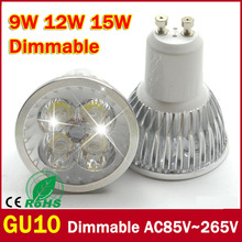 1PCS Ultra Bright dimmable 9w 12W 15w GU10 LED Bulbs Spotlight High Power gu 10 led Lamp Day White LED SPOT Light Free Shipping