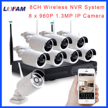 LOFAM home HD 8CH CCTV System Wireless 960P NVR 8PCS 1.3MP IR Outdoor P2P Wifi IP CCTV Security Camera System Surveillance Kit