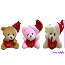Mini Cute Christmas Bear Plush Toys I love you Heart Teddy Bear Soft Stuffed Dolls 5cm 30pcs/lot(China)