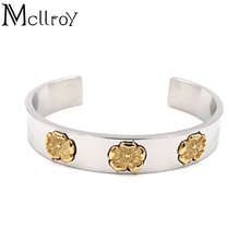 Mcllroy Takahashi Goro Flower Pattern Healing Energy Titanium Steel Bangle Promote Circulation Balance Cuff Open Bangles(China)