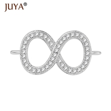 jewelry findings components cubic zirconia rhinestone infinity charm connectors for diy fashion Jewellery accessories parts