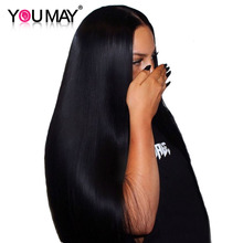13x4 Lace Front Human Hair Wigs For Women Natural Black 250% Density Straight Lace Front Wigs Brazilian Remy Hair You May (China)