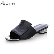 AIWEIYi 2018 Genuine Leather Women Sandals Black White Slip On Ladies Summer Shoes Open toe Women Slides Ladies Sandal Shoes(China)