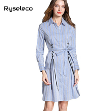 Autumn Winter Women Vertical Strip Shirt Dresses Female Fashion Elegant Lace Up Bow Tied A-line Casual Vestido Brief Clothing(China)