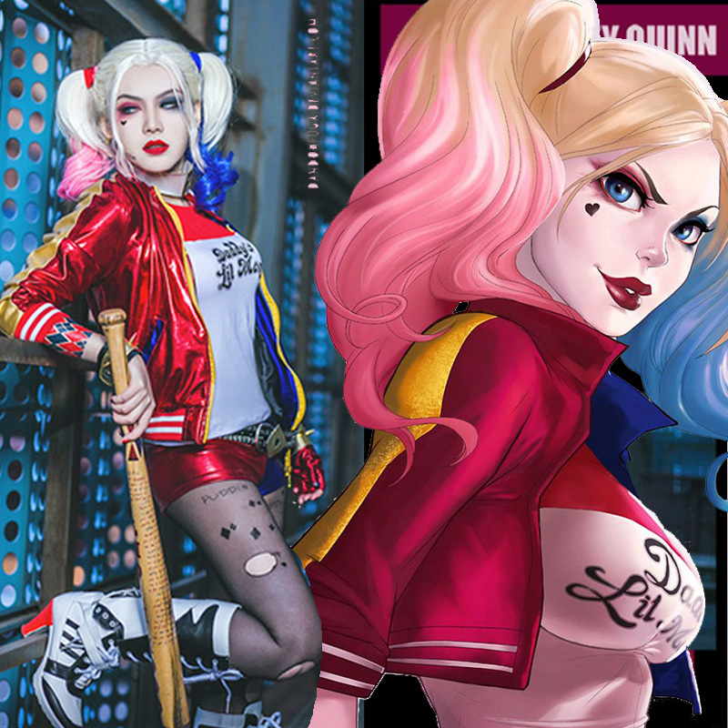 Film Suicide Squad Harley Quinn Wig Ombre Curly Gradient Wig Pelucas Sinteticas Perruque Cheveux Synthetic Cosplay Wig<br><br>Aliexpress