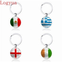 10 x New 2018 World Cup Football Car Keychain Keyring For Mexico Greece England Colombia Chile Netherlands Costa Rica Flag(China)