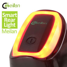 Meilan Smart Bicycle Rear Light Bike Tail LED Light Shock And Daylight Sensor switch 7 Flash Model USB Bicycle Accessories(China)