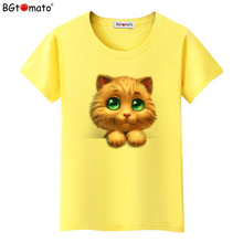 BGtomato T shirt Lovely yellow cat shirt Super cute lovely 3d printed t-shirt Hot sale popular style tshirt women(China)