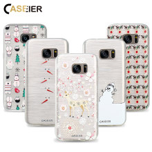 CASEIER Phone Case For Samsung Galaxy S6 S7 Edge S8 Plus Note 8 Cover Soft TPU 3D Christmas Winter Capa Shell Cute Snowman Cases(China)