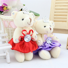 12Pcs/Set Wedding Gift Joint Diamond teddy bear Bouquet DOLL TOY DIY Pendant Plush Stuffed TOY Soft Figure DOLL TOY 5Colors Gift(China)